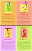 Preserved Food Posters With Fruits And Vegetables. Green Grapes, Spicy Olives, Pineapple Rings, Toma poster