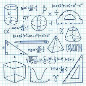 Doodle Maths And Geometry Concept. Trigonometry Functions, Charts And Mathematical Formulas. Vector  poster