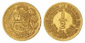 Old Peruvian Half SOLDE ORO Coin of 1959