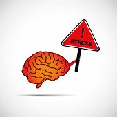 Brain Holding Placard With The Word Stress Brain Need Help Concept Vector Illustration poster