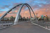 Walterdale Bridge Walkway Exploration During Sunset In Edmonton poster