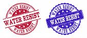 Grunge Water Resist Seal Stamps In Blue And Red Colors. Stamps Have Draft Style. Vector Rubber Imita poster