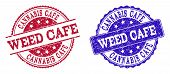 Grunge Weed Cafe Seal Stamps In Blue And Red Colors. Stamps Have Draft Surface. Vector Rubber Imitat poster