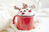 Red Mug With Hot Chocolate With Melted Marshmallow Snowman poster