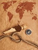 scroll with wax seal and rope on old paper background
