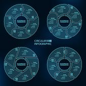 Vector Abstract 3d Paper Infographic Elements.a Set Of Four Templates.circular Infographics poster