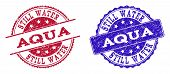 Grunge Aqua Seal Stamps In Blue And Red Colors. Stamps Have Distress Style. Vector Rubber Imitation  poster