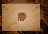 Mail envelope with a stamp