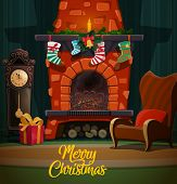 Christmas Fireplace In Room Interior With Xmas And New Year Winter Holidays Gifts, Santa Stockings A poster