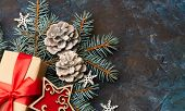 Christmas Background With Xmas Tree And Sparkle Bokeh Lights On Wooden Canvas Background. Merry Chri poster