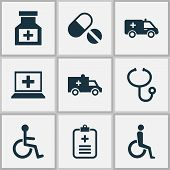 Medicine Icons Set With Wheelchair, Medicine, Ambulance And Other Analyzes Elements. Isolated Vector poster