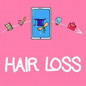 Conceptual Hand Writing Showing Hair Loss. Business Photo Text Loss Of Huanalysis Hair From The Head poster
