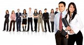 stock photo of business-partner  - businessteam with business partners leading it  - JPG