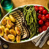 A Side Dish Of Vegetables On The Holiday Table. Healthy Food For The Whole Family Or Dinner At A Res poster
