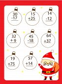 Mathematics Worksheet. Educational Game For Children. Learning Counting. Addition And Subtraction Fo poster