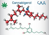 Cannabigerol (cbg) - Structural Chemical Formula And Molecule Model. Non-intoxicating Cannabinoid In poster
