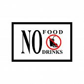 No Food Or Drinks Sign. Silhouette Hamburger And Cup In Red Hexagon. Sign No Meal On White Backgroun poster