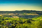 Tuscany Summer Countryside, Montepulciano Countryside Panorama And Rolling Hills. Siena, Italy Europ poster