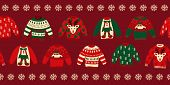 Ugly Christmas Sweaters Seamless Vector Border. Knitted Winter Jumpers With Norwegian Ornaments And  poster