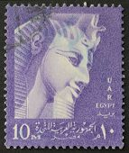 EGYPT - CIRCA 1959: a stamp show image of Ramses II, the Great Pharaoh who ruled Egypt from 1279 BC