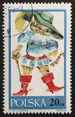POLAND - CIRCA 1968: a stamp printed in Poland shows illustration of  Puss in Boots, the cat in the