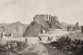 An old engraving of Erice mount and castle, near Trapani, Sicily, Italy. May be dated to the alf of