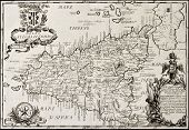 Old map of Sicily. The original map is datable approximately between the and of 17th c. and the beginning of 18th c.. The map was created by Franciscus Cassianus Da Sliva.