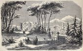 Antique illustration shows Villa Raimondi, in the village of Fino, near Milan. Original  by M. Crapelet and J. Gaildrau, was  published on