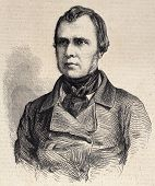 Old engraved portrait of Narcisse Girard, French orchestra director. Original, from drawing of Hofer