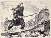 spanische Baskisch Soldat während der marokkanischen Expedition. Original, aus einer Zeichnung von Worms nach Skizze o