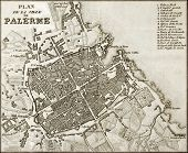An old map of Palermo, the main town in Sicily. The map, by unknown author, may approximately be dat