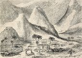 image of indium  - Antique illustration of a small village among the mountains in central America - JPG