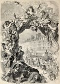 Old allegoric illustration of Mardi Gras (Fat Tuesday) during Carnival celebrations in Paris. Origin