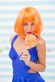 Sweet Beauty. Crazy Girl With Orange Lollipop. Fashion Beauty Wants To Eat Delicious And Sweet Lolli poster