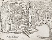 An old map of Palermo, the main town in Sicily. The original map was created by Coronelli and was published at the end of 17th c.