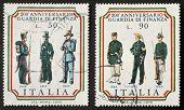 ITALY - CIRCA 1974: two stamps printed in Italy celebrates second centenary of Guardia di Finanza, t
