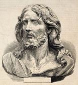 Engraved illustration of Jesus Christ's head. Original, from drawing of Worms after photo of Lapanne