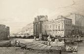Old print of Porta Felice, Palermo, Italy. Original drawn by W. L. Leitch, engraved by R. Sands. Published in The Shores and Islands of Mediterranean, Fisher, Sons & Co. of London and Paris, c. 1840