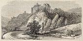 Antique illustration shows Chateaux de Bruniquel, ancient castle in Tarn-en-Garonne, southern France