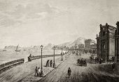 Antique illustration of Palermo promenade, Sicily, The original engraving, created by B. Rosaspina,