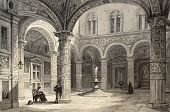 picture of luigi  - Antique illustration of  Palazzo Vecchio courtyard - JPG