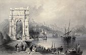 Antique illustration of Arco di Traiano in Ancona, Italy. Original created by W. H. Bartlett and J.