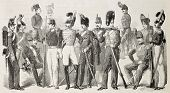 Old illustration of Neapolitan Army uniforms. Original, from drawing of Worms, was published on L'Illustration, Journal Universel, Paris, 1860