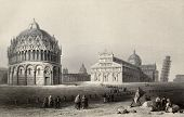 Antique illustration of Piazza dei Miracoli (Miracles square), Pisa, Italy. Original, created by W.