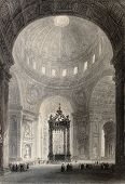 Antique illustration of Saint Peter's Basilica interior, Rome, Italy. Original, created by W. H. Bar