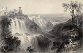 Antique illustration of  Tivoli waterfalls, near Rome, Italy. Original, created by W. H. Bartlett an