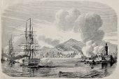 Palermo bombardment in 1860 by Bourbon's fleet and from the Sea castle. Original, from a drawing of Lebreton after sketch of Sutter, was published on L'Illustration, Journal Universel, Paris, 1860