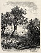 Antique illustration of natural landscape. Original, from a tablet of Gresy, was published on L'Illustration, Journal Universel, Paris, 1860