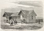 Antique illustration of engineers cottage in Port Said, working on the Suez canal opening. Original,