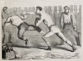 Antique humorous illustration of a straight right paunch during a boxing match. Original, by Benassis et Darjou, published on L'Illustration, Journal Universel, Paris, 1860